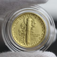 2016-W Mercury Dime Centennial Gold Coin, Reverse, Capsule