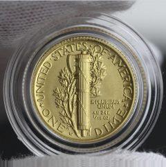 2016-W Mercury Dime Centennial Gold Coin, Reverse, Capsule, a
