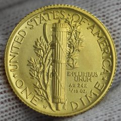 2016-W Mercury Dime Centennial Gold Coin, Reverse, a