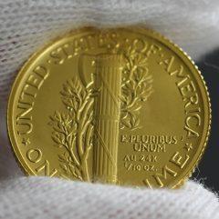 2016-W Mercury Dime Centennial Gold Coin, Reverse, b