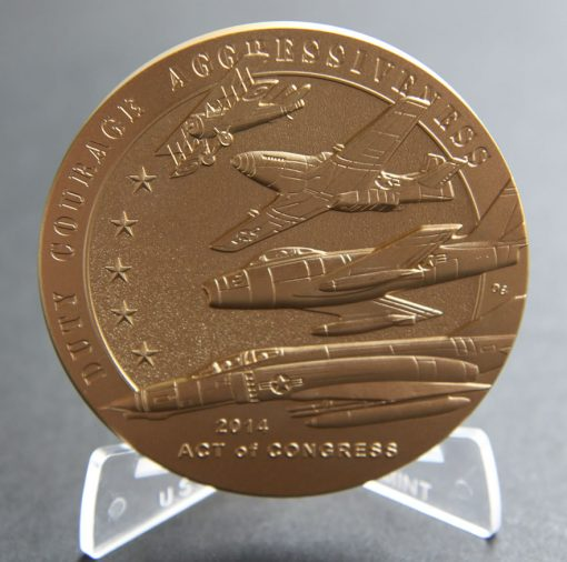 American Fighter Aces 3-Inch Bronze Medal, Reverse
