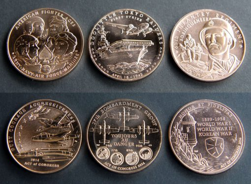 American Fighter Aces, Doolittle Tokyo Raiders, and Borinqueneers 1.5-Inch Bronze Medals