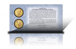 Back of 2016 Gerald R. Ford $1 Coin Cover