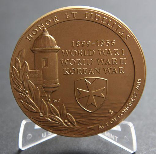 Borinqueneers 3-Inch Bronze Medal, Reverse
