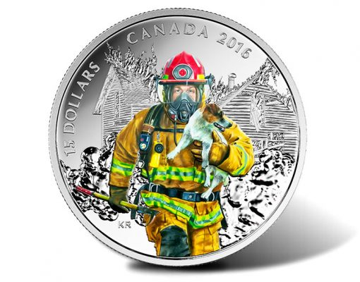 Canadian 2016 $15 National Heroes Firefighters Silver Coin