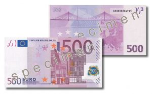 EUR 500 bankote - obverse and reverse
