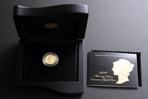 Opened Case of 2016-W Mercury Dime Centennial Gold Coin