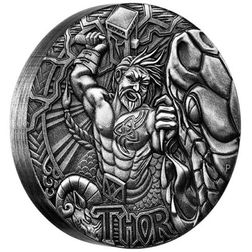2016 $2 Thor 2oz Silver High Relief Antiqued Coin - Reverse