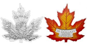 Canadian 2016 $20 Coin Shaped Like Autumn Maple Leaf