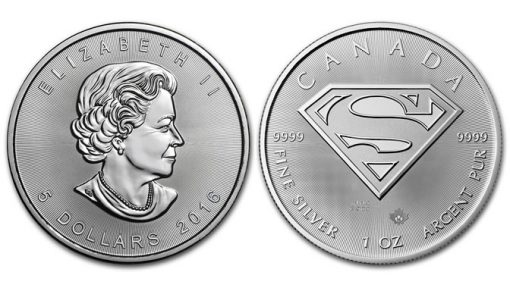 Canadian 2016 $5 Superman 1 oz Silver Bullion Coin, obverse and reverse