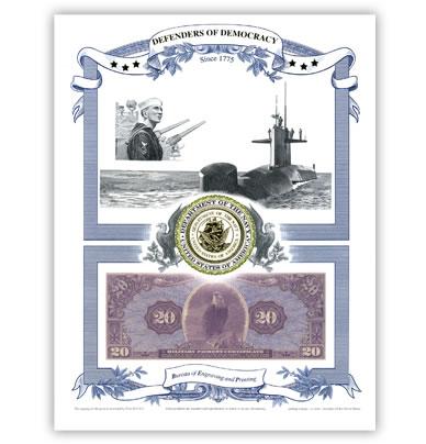 Defenders of Democracy Navy Intaglio Print