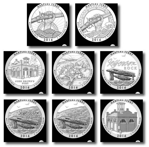 Design candidates for the Harpers Ferry National Historical Park quarter