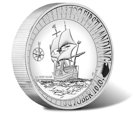Dirk Hartog Australian Landing 1616 - 2016 Silver Proof High Relief Coin