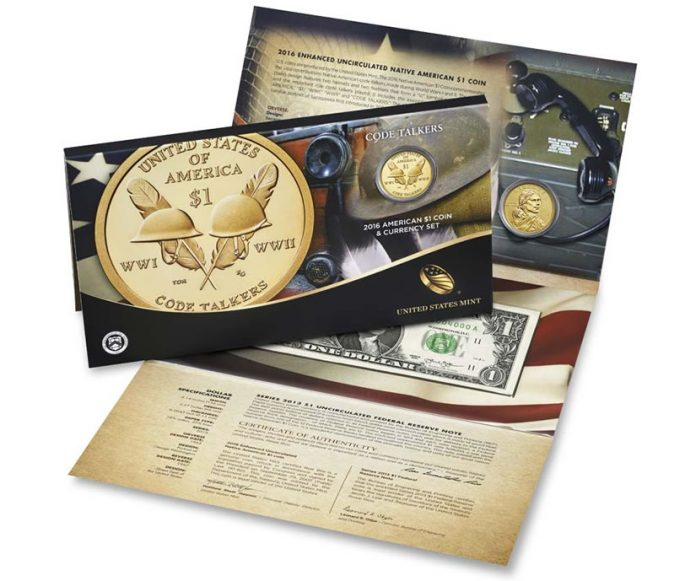 US Mint image of 2016 American $1 Coin and Currency Set