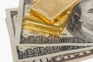 gold bars, $100s and $50
