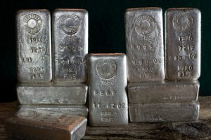 silver bars stacked side by side