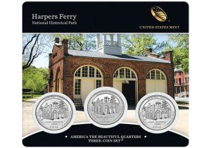 Harpers Ferry Quarters for West Virginia in Three-Coin Set