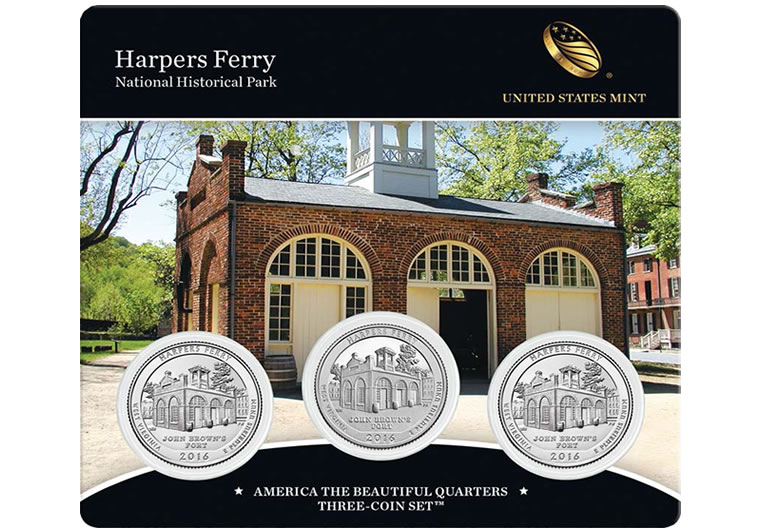 Harpers Ferry Quarter for West Virginia in Three-Coin Set