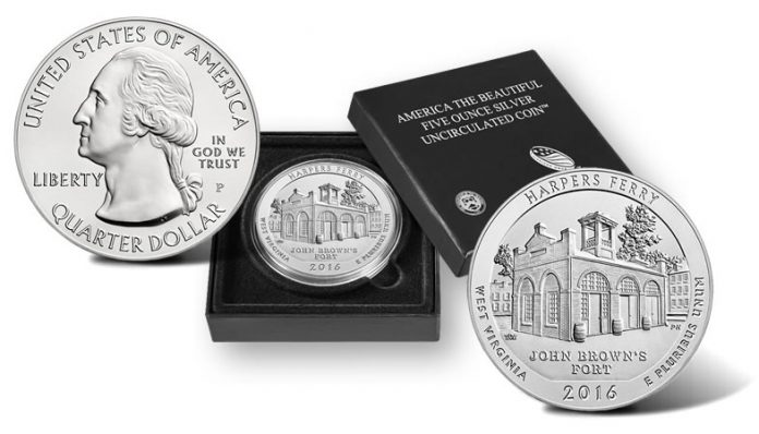 2016-P Harpers Ferry National Historical Park Five Ounce Silver Uncirculated Coin and Presentation Case