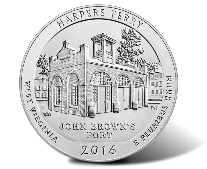 5oz Coin 2016 Harpers Ferry America the Beautiful 5 Ounce .999 Silver Quarter