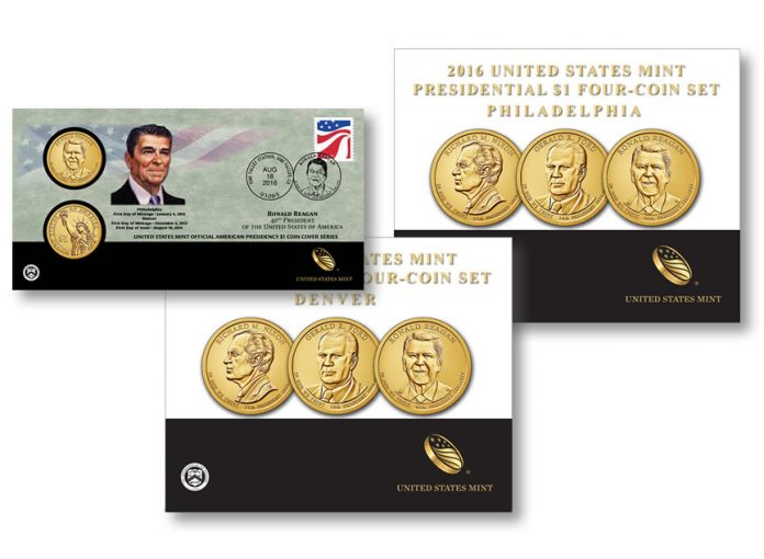 2016 Presidential $1 Coin Products 3-Coin Set, Reagan Cover