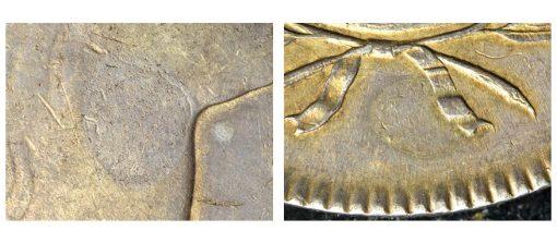 Close up plugs 1795 silver dollar