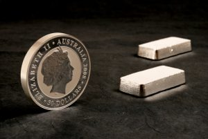 Perth Mint silver bullion coin and silver bars
