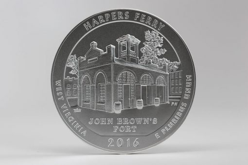 Photo of 2016-P Harpers Ferry National Historical Park Five Ounce Silver Uncirculated Coin, Reverse