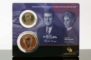 Photo of a 2016 Reagan $1 Coin & First Spouse Medal Set