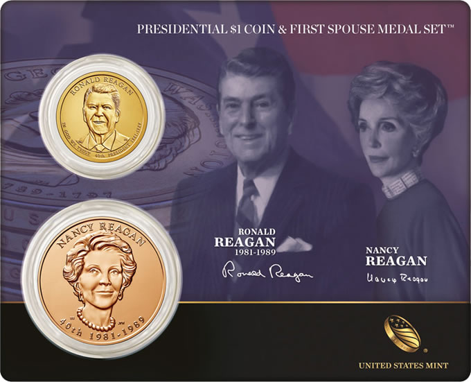 Reagan Presidential $1 Coin and First Spouse Medal Set