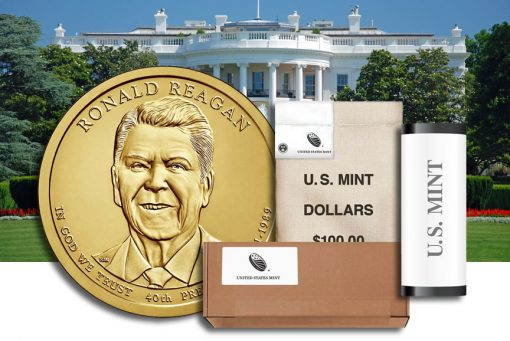 Rolls, Bags and Boxes of Ronald Reagan Presidential $1 Coins