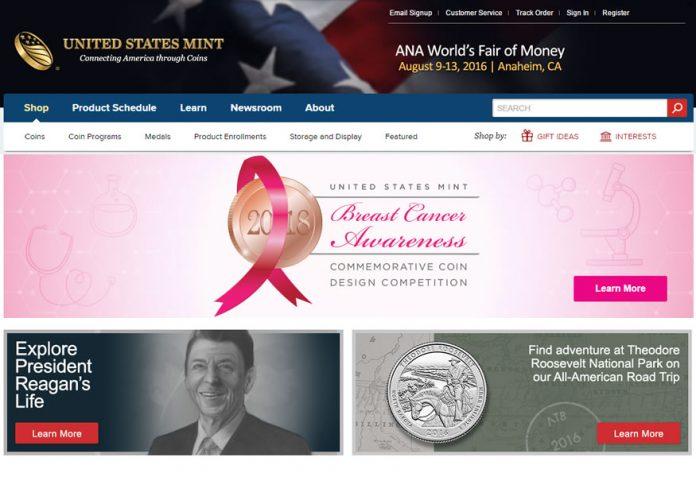 US Mint Website, Breast Cancer Design