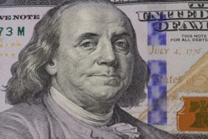 American dollar money Franklin portrait close-up