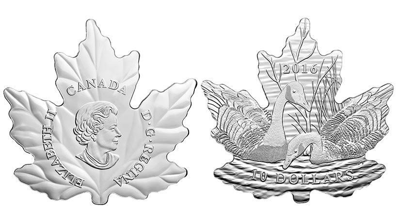 2016 10 Canadian Geese Silver Coin Features Maple Leaf