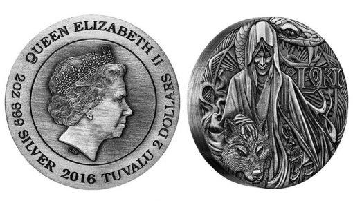 2016 $2 Loki 2 oz Silver High Relief Antiqued Coin