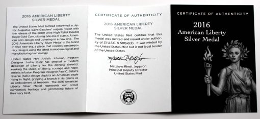 2016 American Liberty Silver Medal - Certificate of Authenticity
