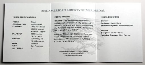 2016 American Liberty Silver Medal - Specifications