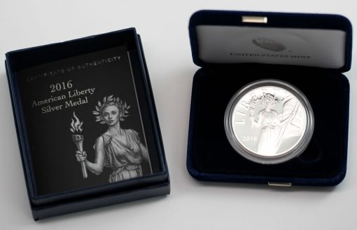 2016 American Silver Liberty Medal, Case and Certificate