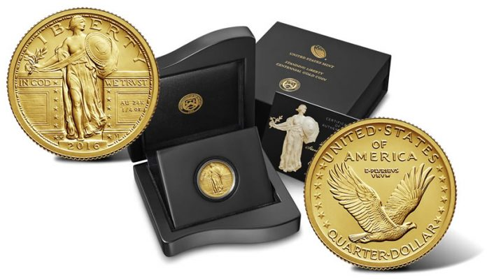 2016-W Standing Liberty Centennial Gold Quarter and Presentation Case