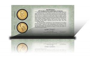 Back of 2016 Ronald Reagan $1 Coin Cover