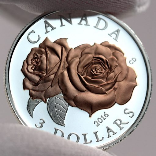 Canadian 2016 $3 Queen Elizabeth Rose Silver Coin, Reverse -a