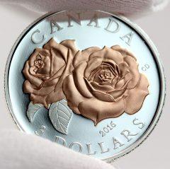 Canadian 2016 $3 Queen Elizabeth Rose Silver Coin, Reverse -b