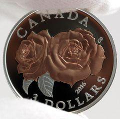 Canadian 2016 $3 Queen Elizabeth Rose Silver Coin, Reverse -c