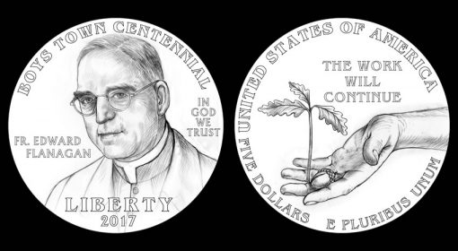 Designs for 2017 $5 Boys Town Centennial Commemorative Gold Coin