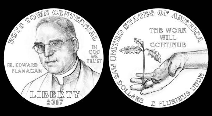 Designs for 2017 $5 Boys Town Centennial Commemorative Gold Coin