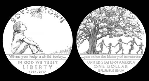 Designs for 2017 Boys Town Centennial Commemorative Silver Dollar