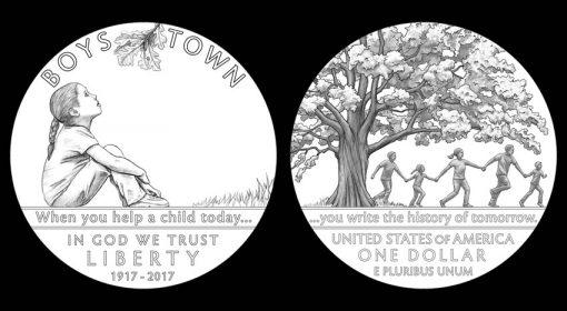 Designs for 2017 Boys Town Centennial Commemorative Silver Dollar