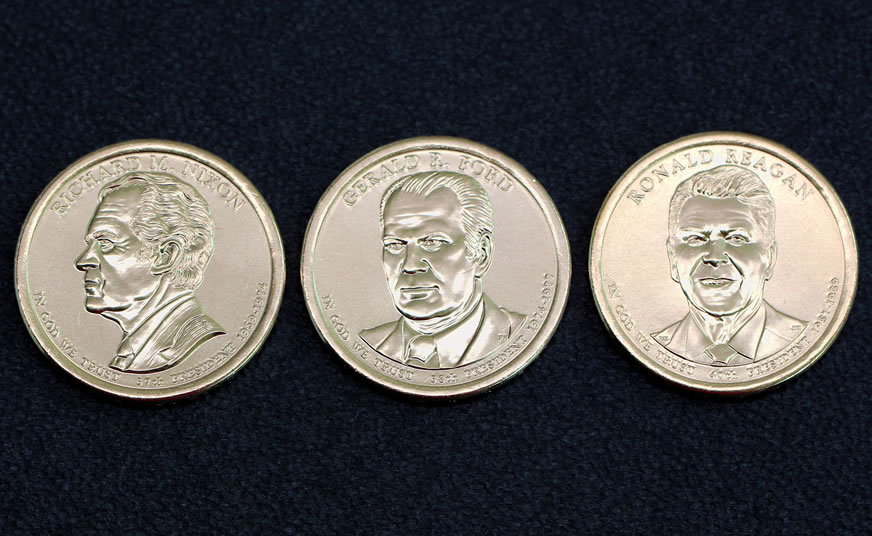 2016 P Amp D Reagan Ford And Nixon Dollars Released In 3 Coin