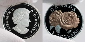Canadian 2016 Queen Elizabeth Rose Silver Coin Photos