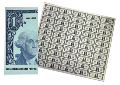 Series 2013 50-Subject $1 Uncut Currency Sheet